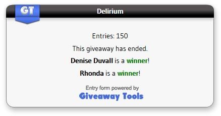 Delirium Giveaway winners
