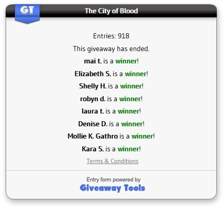 The City of Blood winners