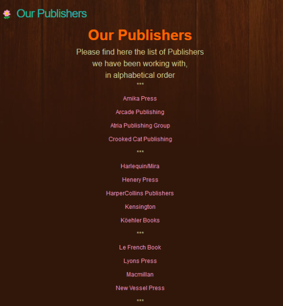 Publishers Page