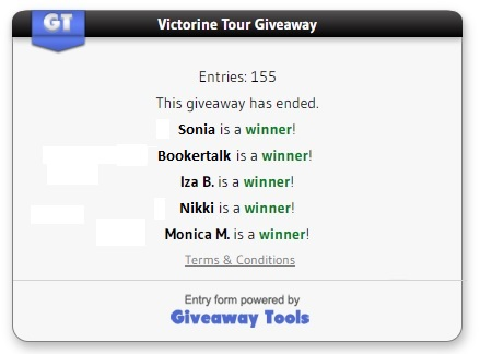 Victorine Tour giveaway winners