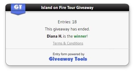 Island on Fire Giveaway winner